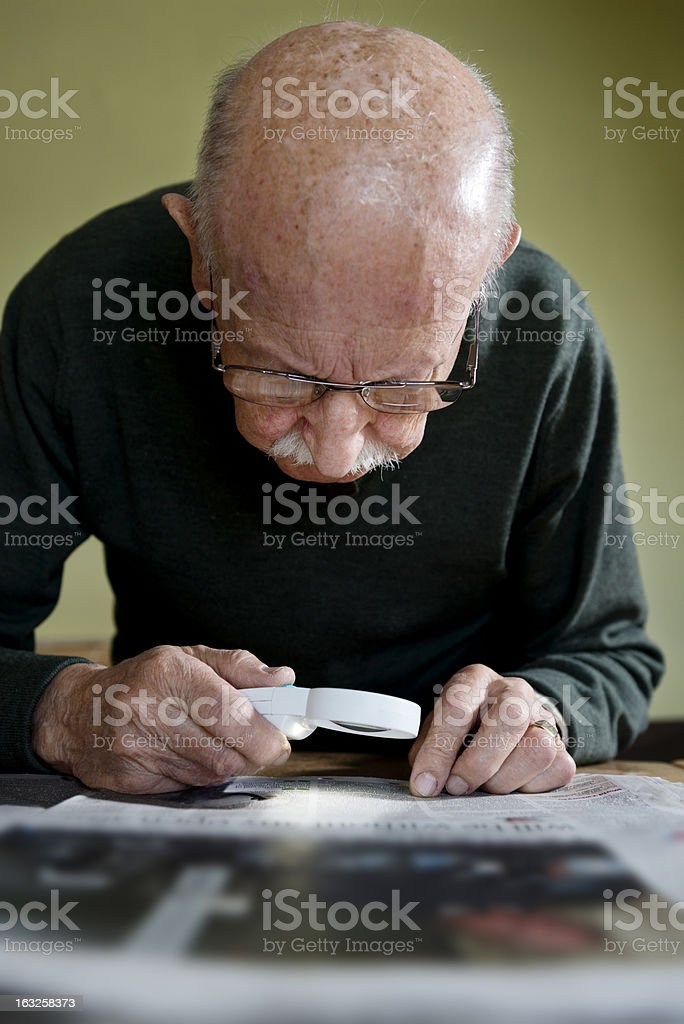 Old Man With Macular Degeneration stock photo