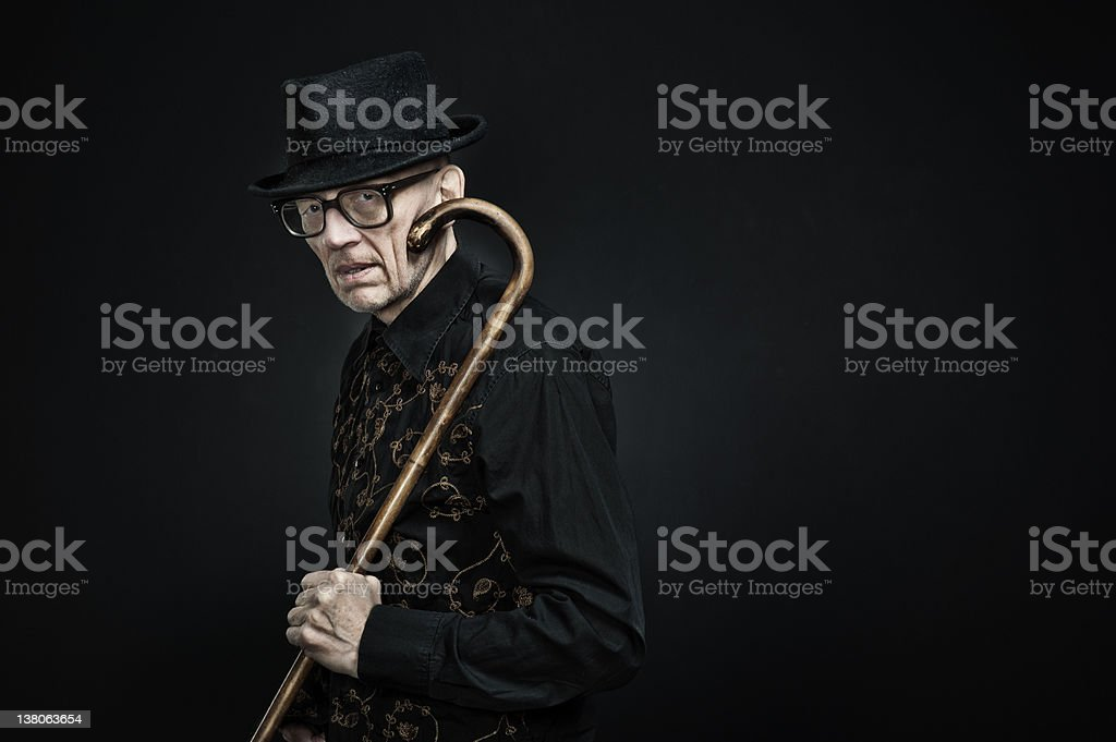 old man with walking-stick2 royalty-free stock photo