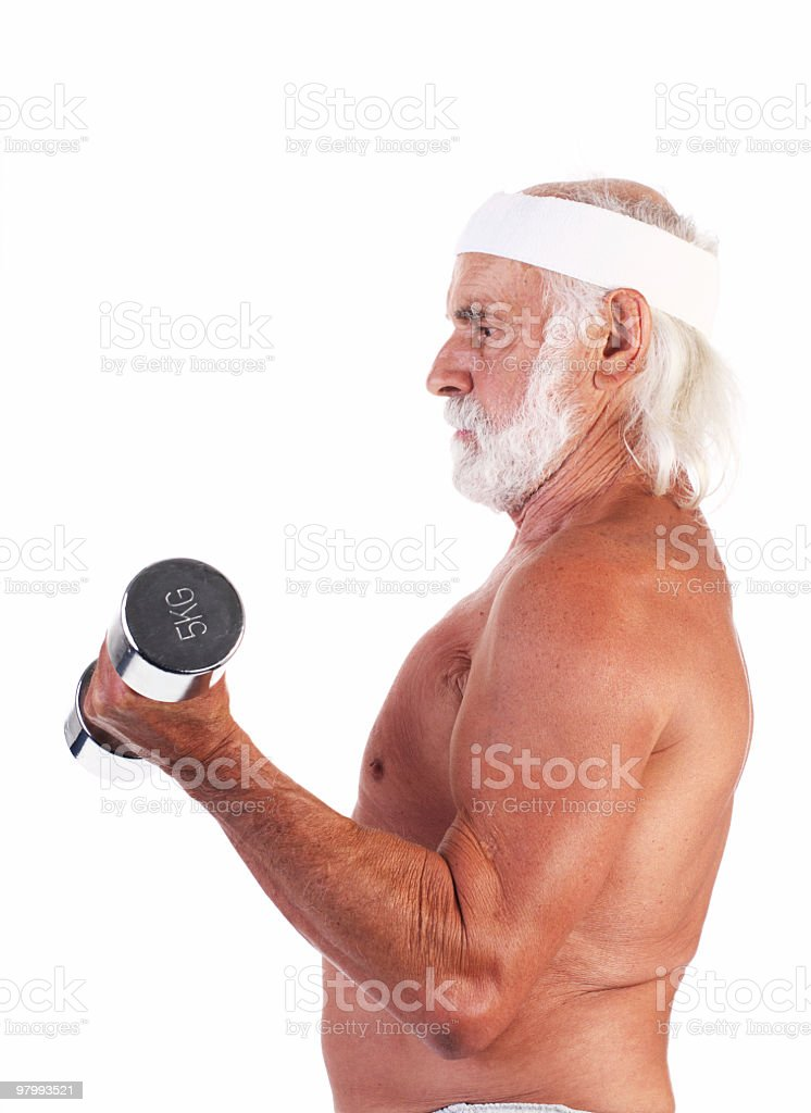 Old man  with weights. royalty free stockfoto