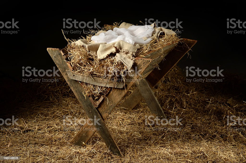 Old Manger with Soft Clothes stock photo