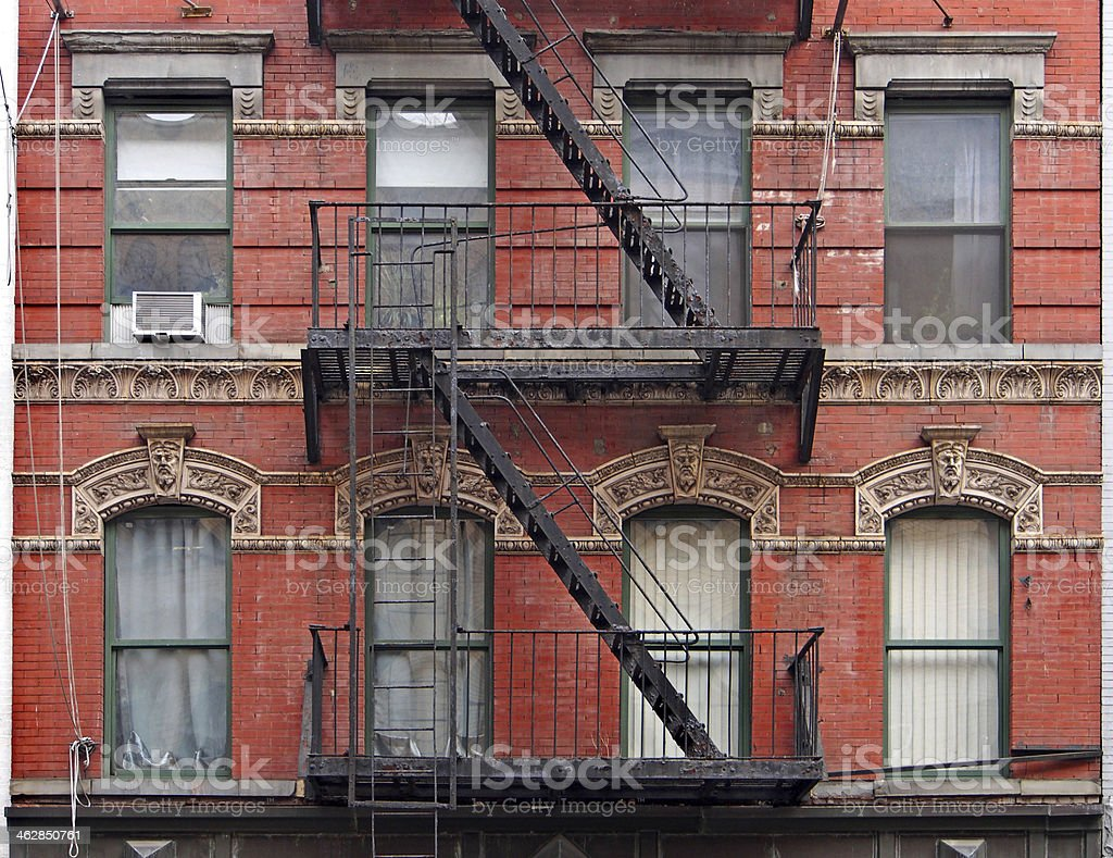 Old Manhattan apartment building stock photo