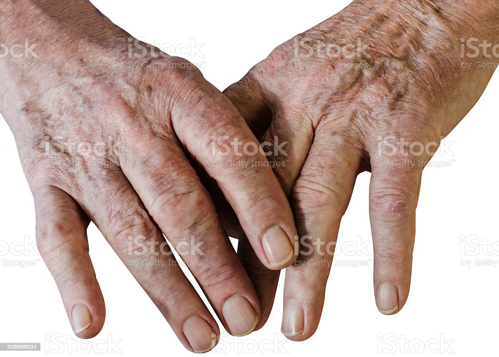 Old man`s beautiful hands on white background stock photo