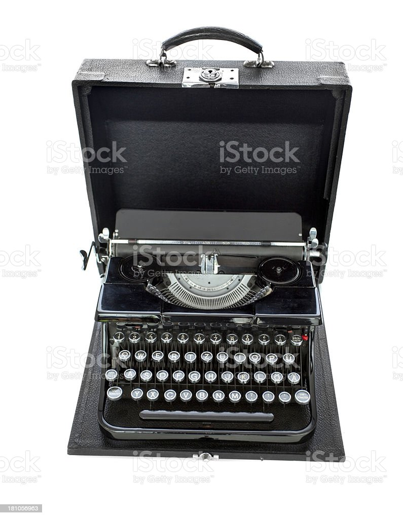 Old Manual Typewriter in Open Carrying Case stock photo