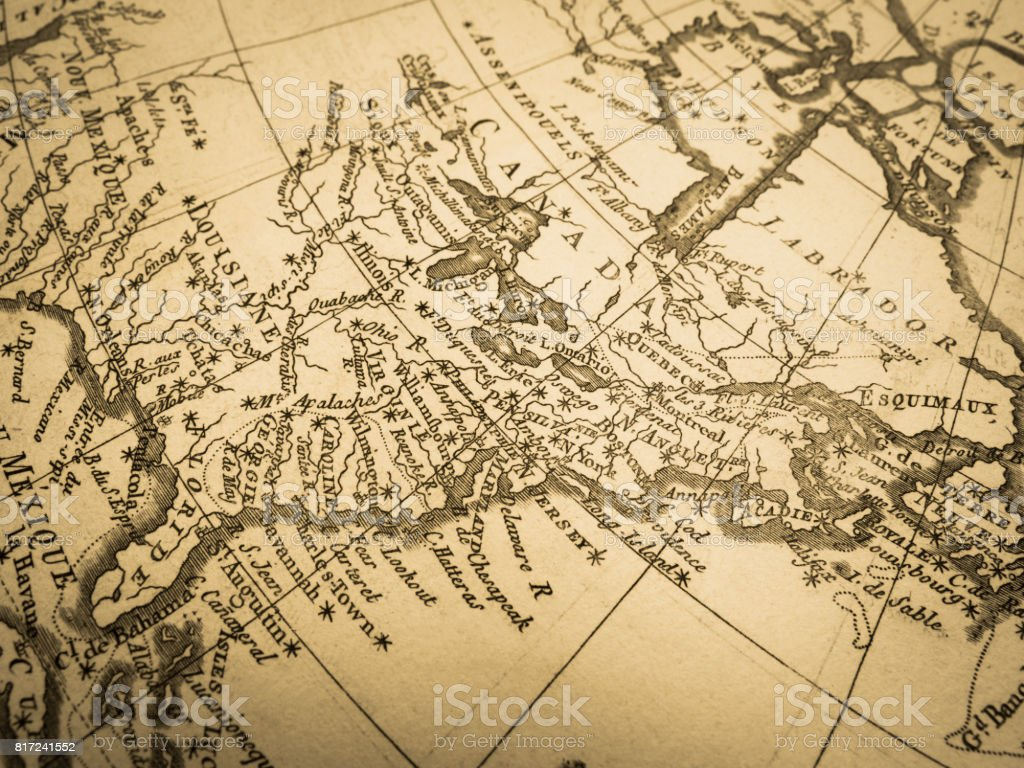 Old Map America East Coast stock photo