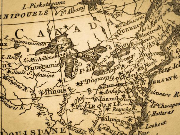oude kaart amerika · east coast - 18e eeuw stockfoto's en -beelden