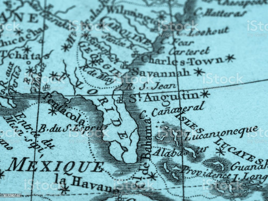 America Map Florida.Old Map America Florida Peninsula Stock Photo Download Image Now