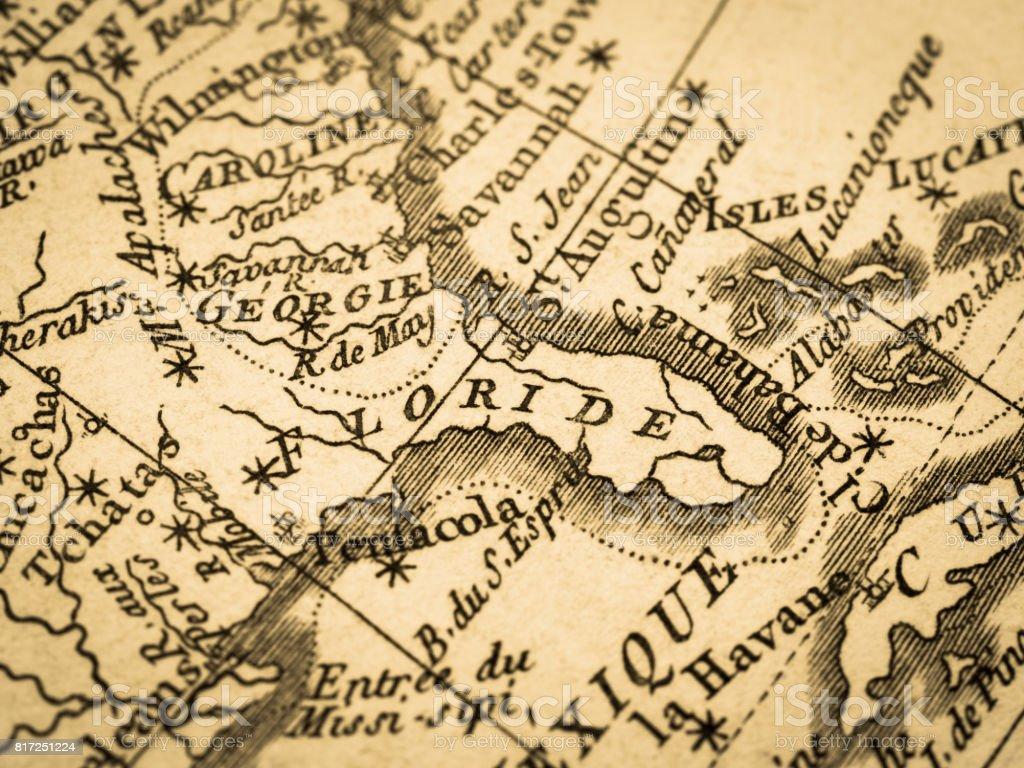 Carte Amerique Floride.Photo Libre De Droit De Ancienne Carte Amerique Floride