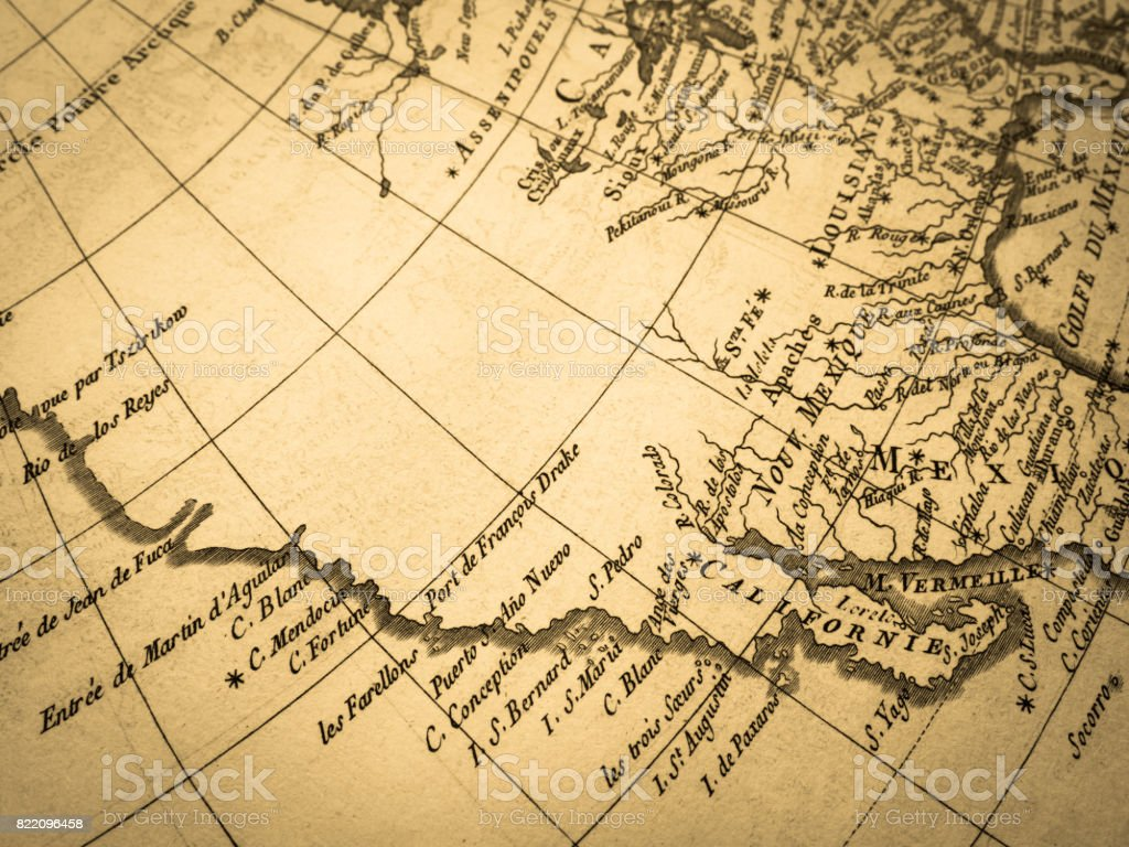 Old Map America West Coast Stock Photo & More Pictures of 18th ...