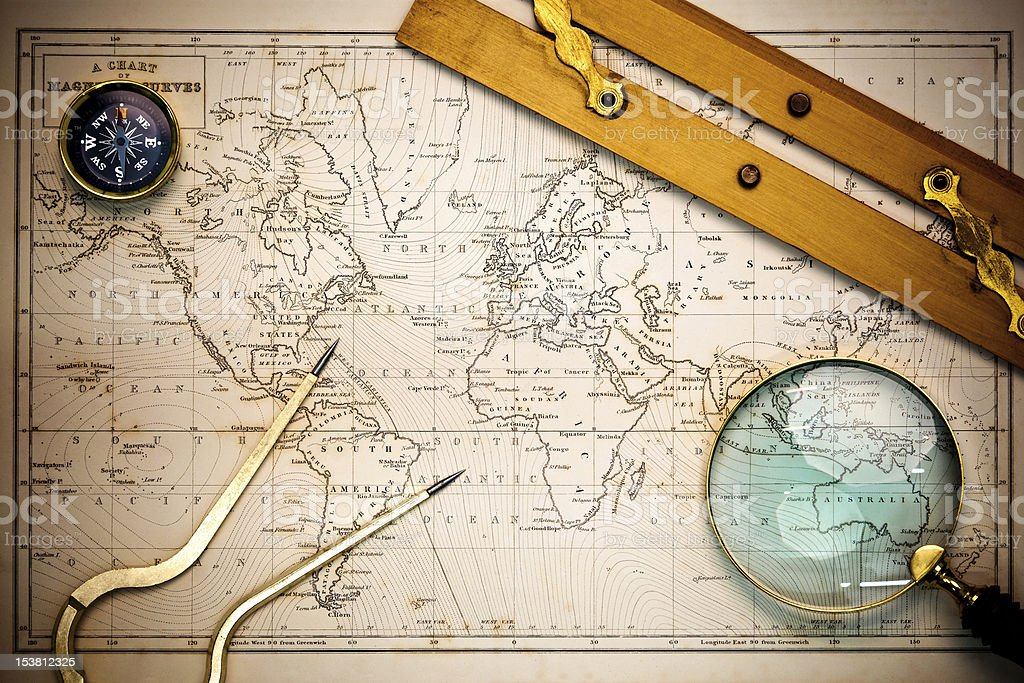 Old map and navigational objects. stock photo