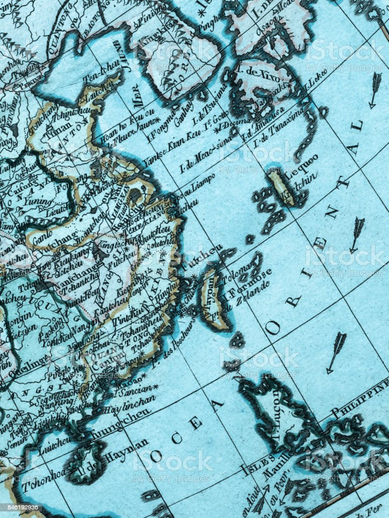 old map east asia royalty free stock photo