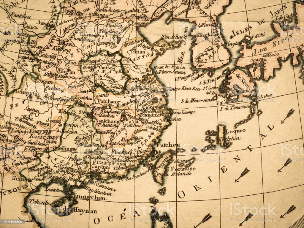 Old map East Asia stock photo