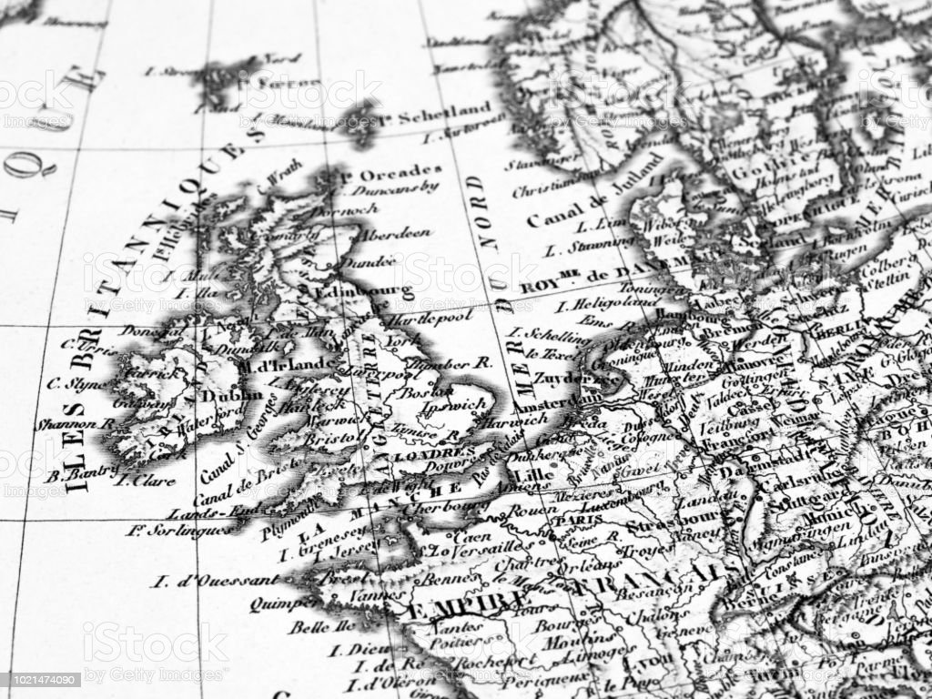 Old Map England And France Stock Photo - Download Image Now ...