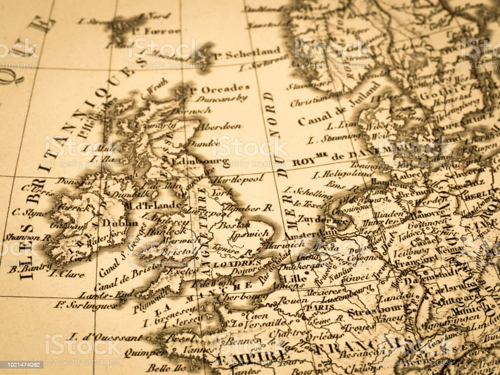Map Of England To France.Old Map England And France Stock Photo Download Image Now Istock