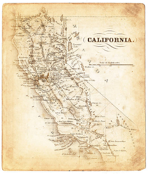 Old map of California 1876 Old map of California, USA california map stock pictures, royalty-free photos & images