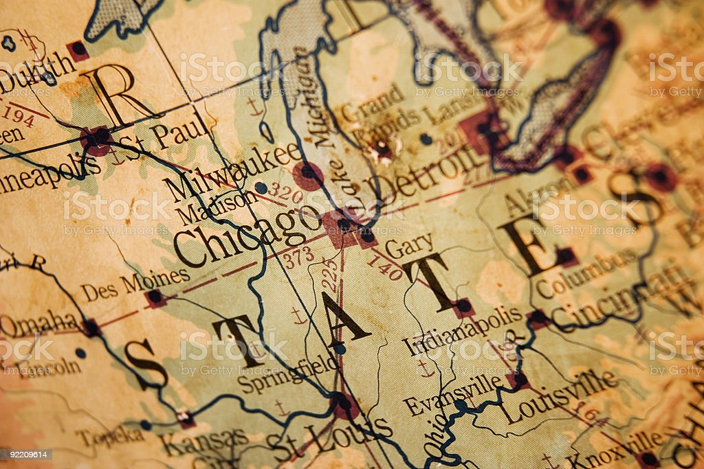 Old map of Chicago and Midwest royalty-free stock photo