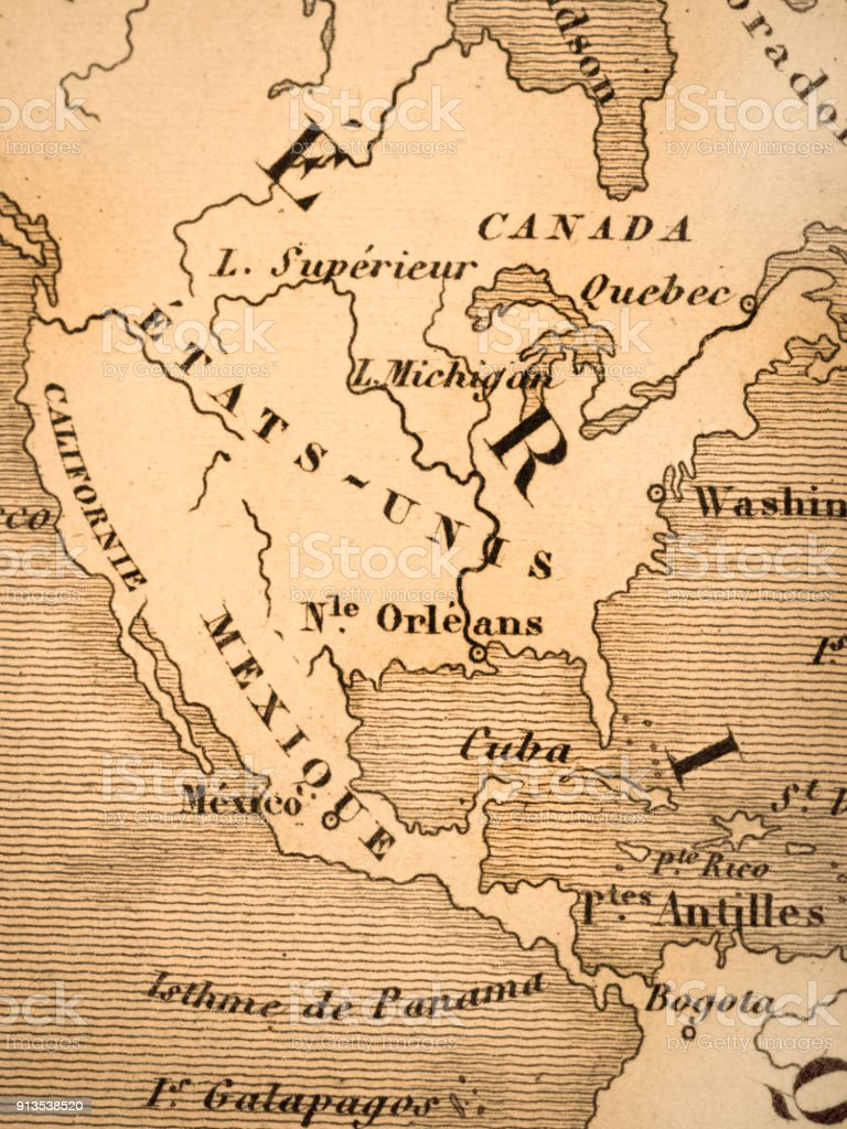 Old Map Of Continental North American Stock Photo More Pictures Of
