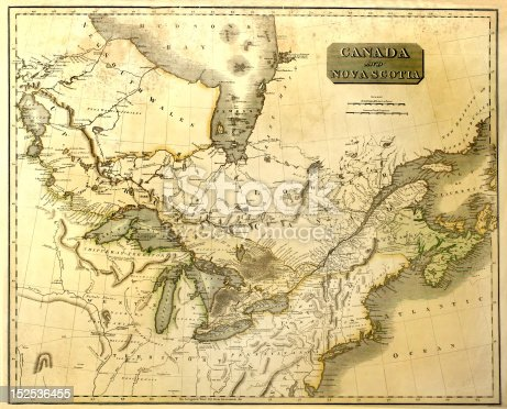 Original vintage map of Canada and adjacent America, printed in 1795.