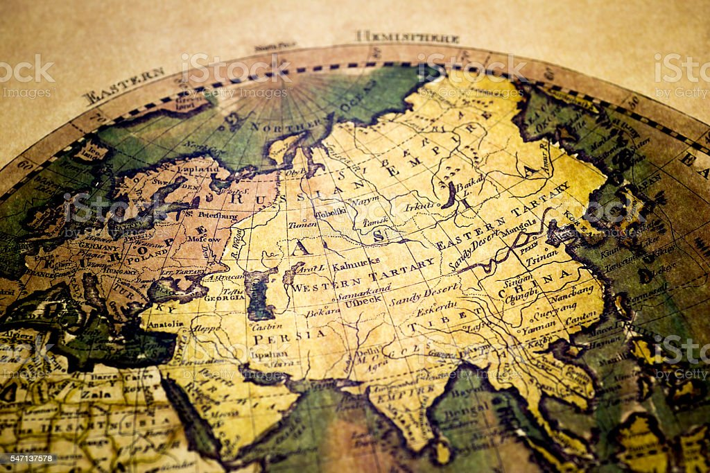 old map of europe and asia royalty free stock photo