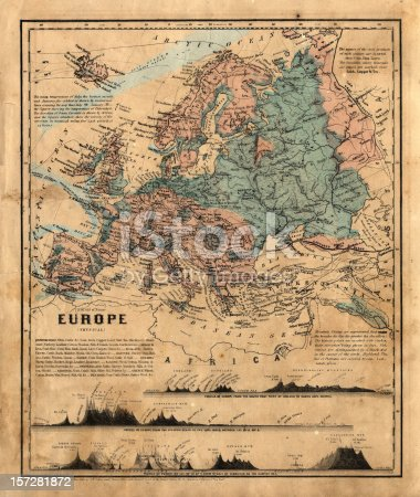 an old map of Europe with other geographical information
