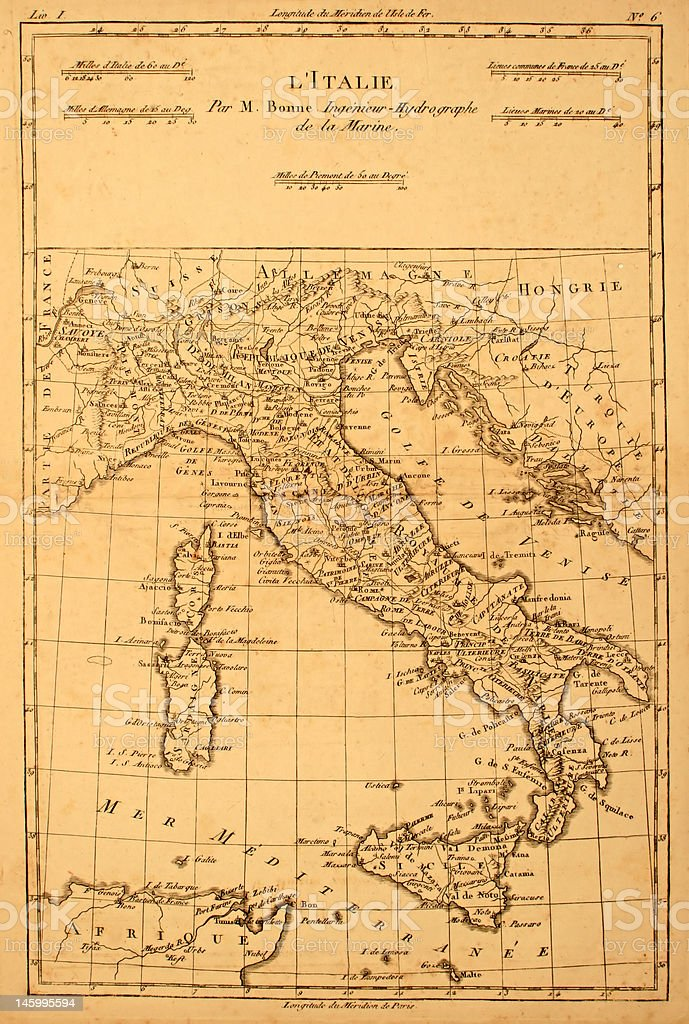 Old Map of Italy. stock photo