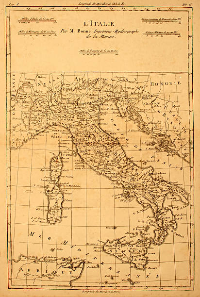 old map of italy. - italy map stock photos and pictures