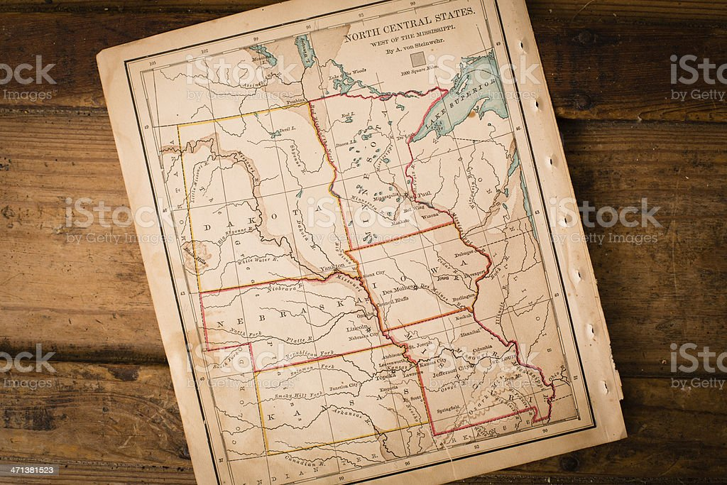 Old,  Map of North Central States, Sitting Angled on Trunk stock photo