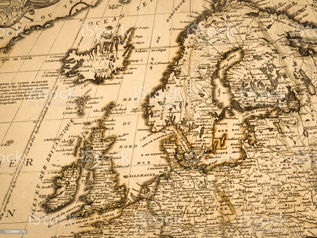 Old Map Of Northern Europe Stock Photo - Download Image Now ...
