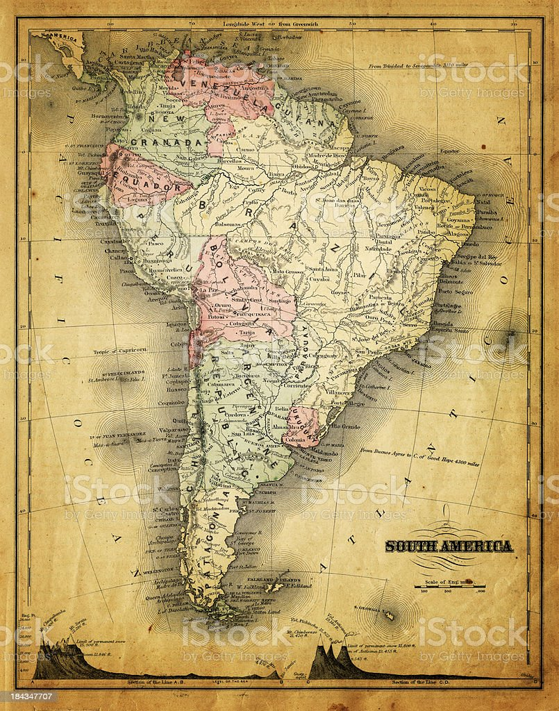 old map of south america royalty-free stock photo