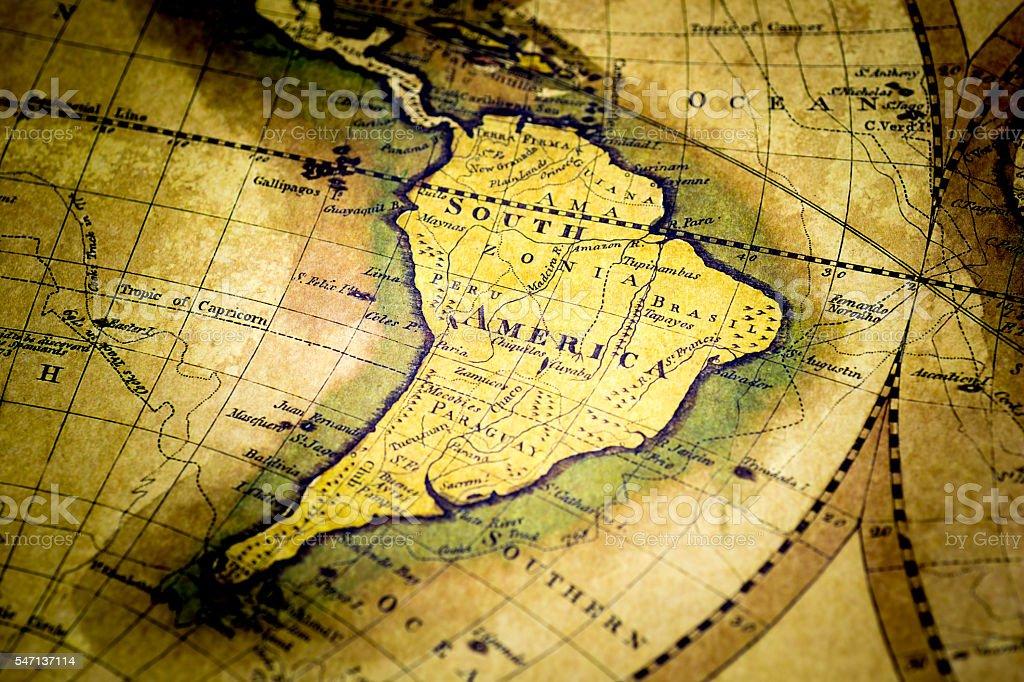 Old Map of South America - foto de acervo