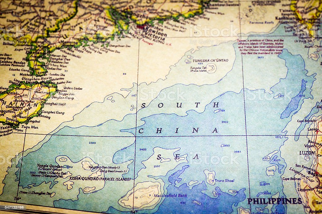 Old Map of South China Sea stock photo