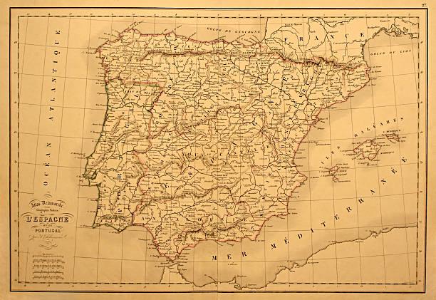 antigo mapa de espanha e de portugal. - portugal map imagens e fotografias de stock