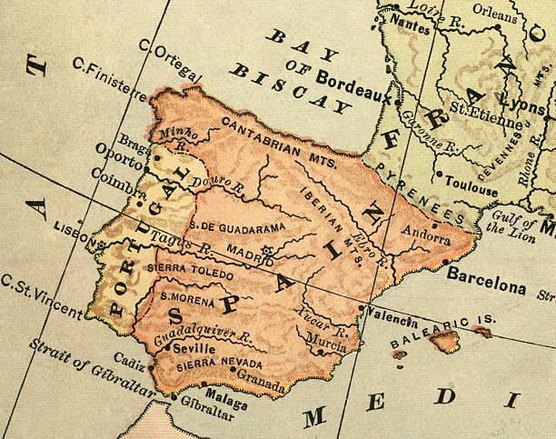 antigo mapa de espanha - portugal map imagens e fotografias de stock