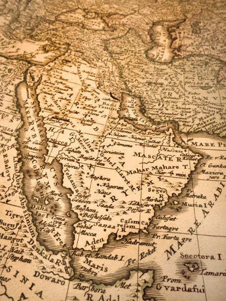 old map of the arabian peninsula - saudi arabia map stock photos and pictures