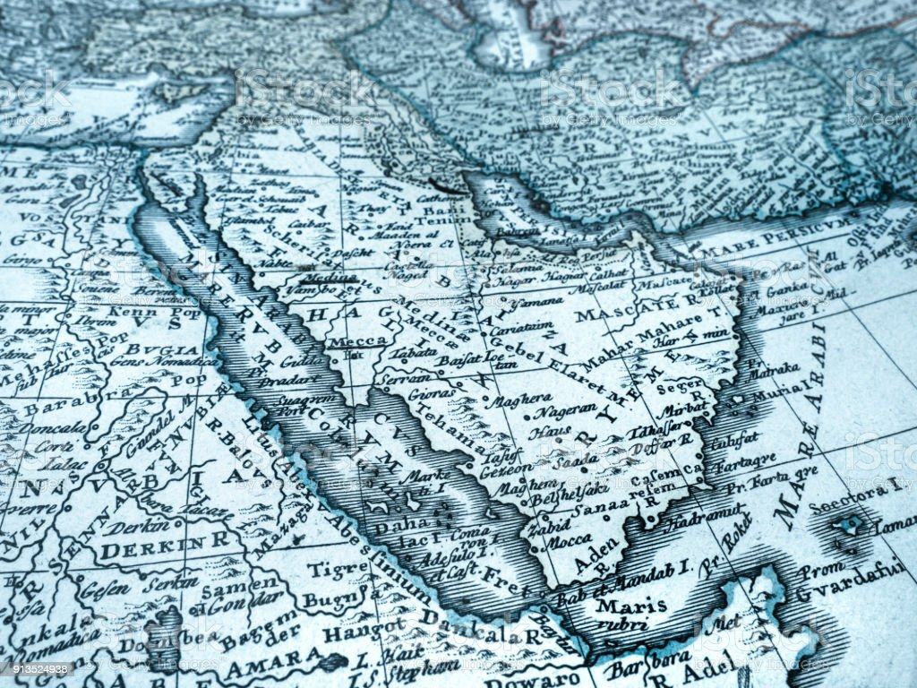 Old Map Of The Arabian Peninsula Stock Photo & More Pictures of 18th ...