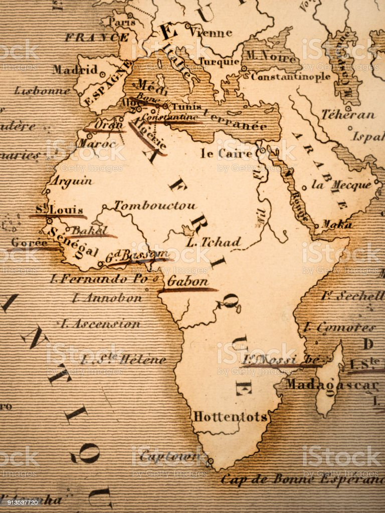 Old map of the continent of Africa stock photo