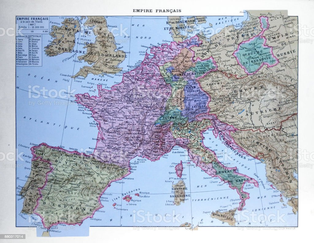 Old map of the French Empire stock photo