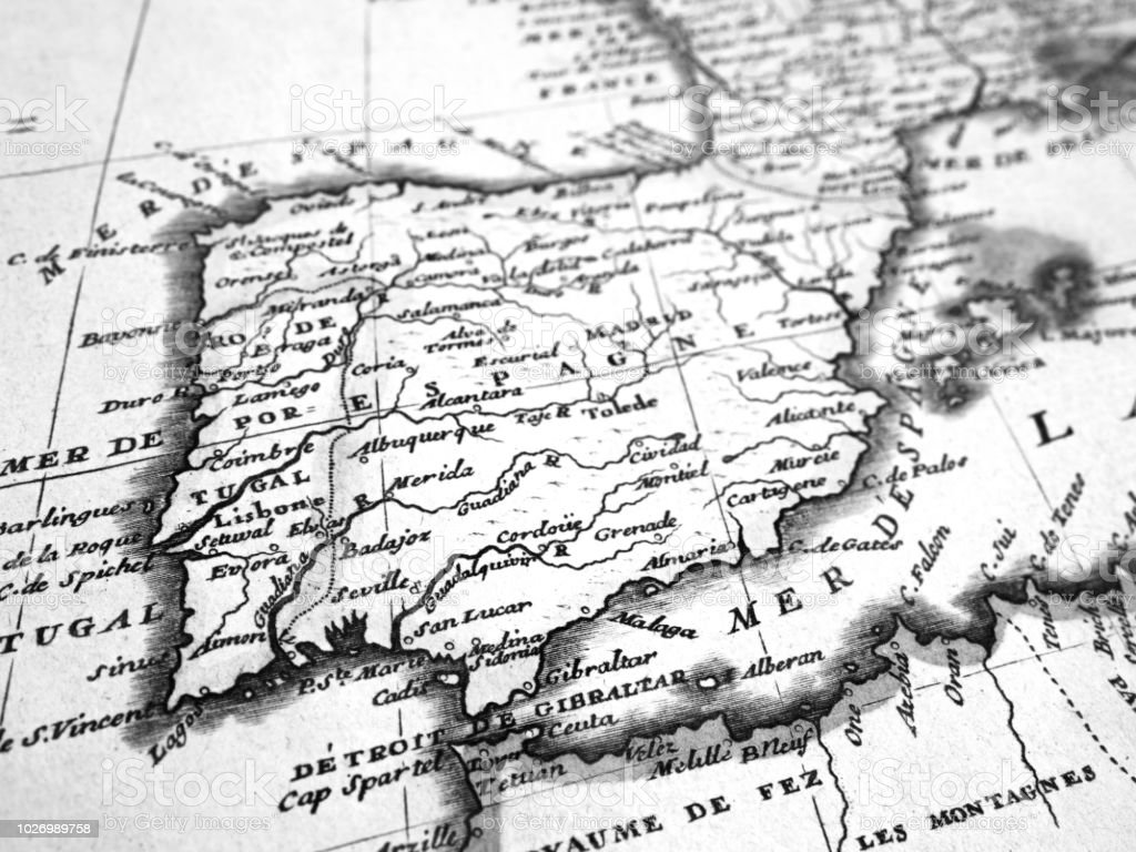 old map of the iberian peninsula stock photo more pictures of 18th Peninsulas In The United States old map of the iberian peninsula stock image