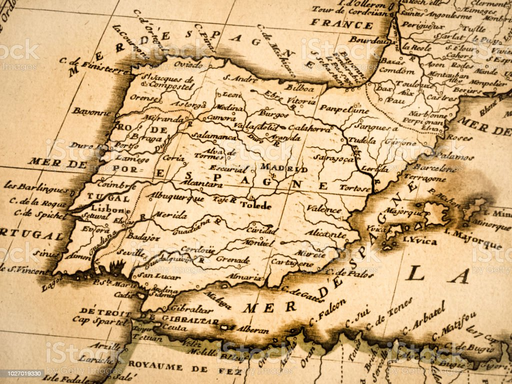 Old Map Of The Iberian Peninsula Stock Photo - Download ...