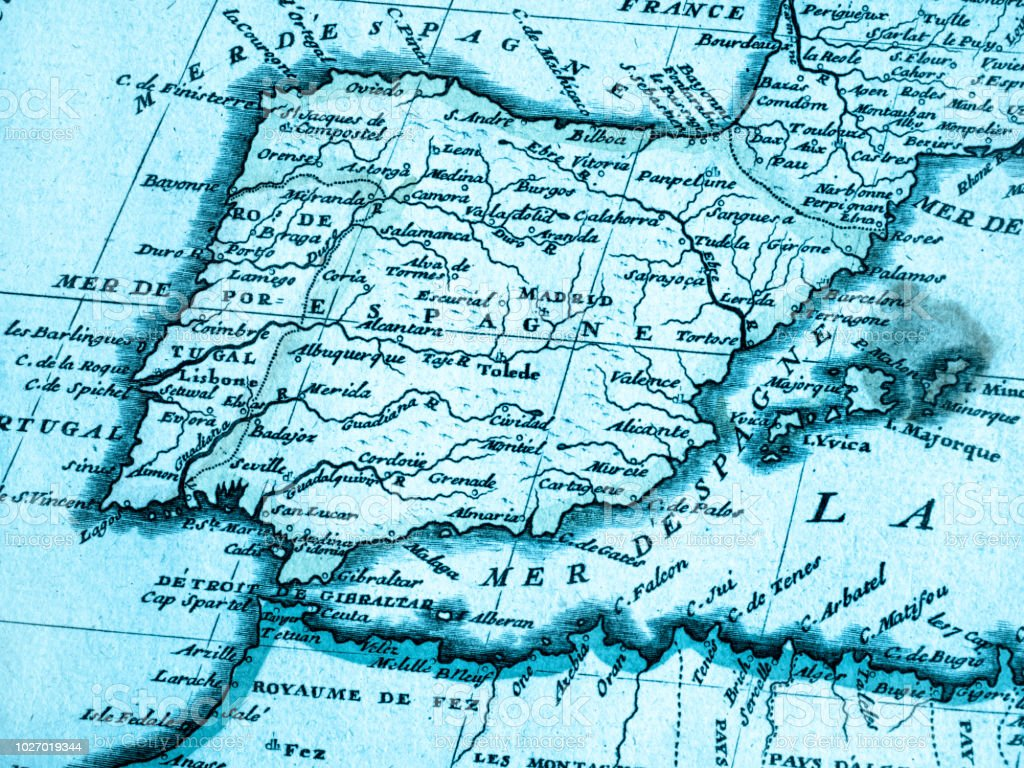 Old Map Of The Iberian Peninsula Stock Photo & More Pictures of 18th ...