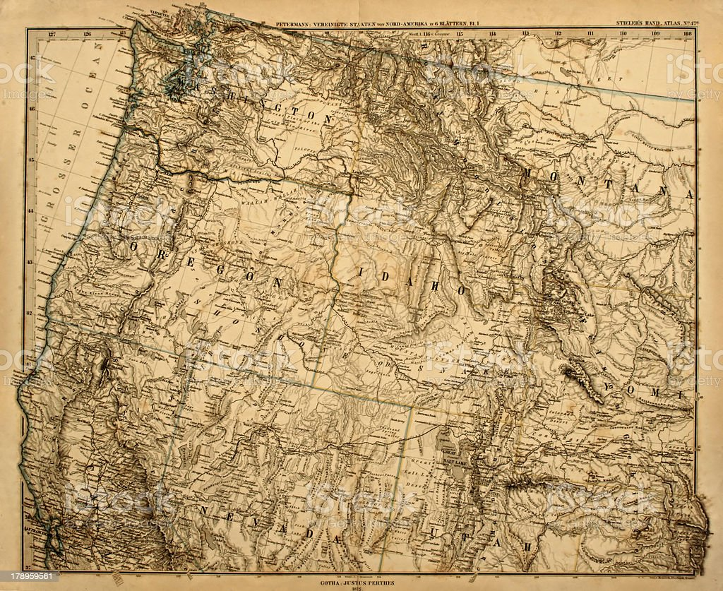 Old Map of the US Pacific Northwest. stock photo