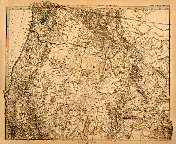 old map of the us pacific northwest. - historic vs new stock photos and pictures