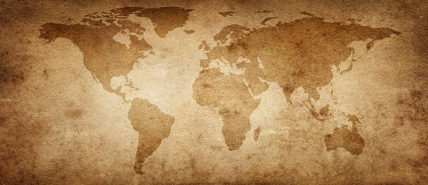 Old map of the world on a old parchment background. Vintage style. Elements of this Image Furnished by NASA. stock photo