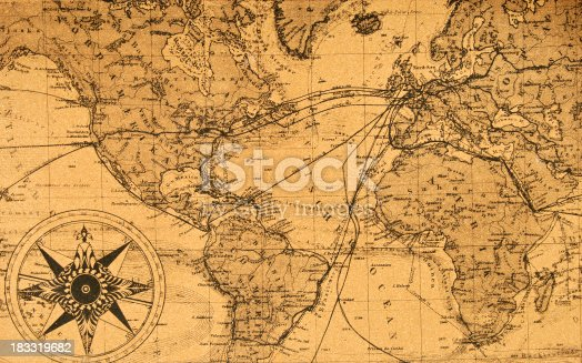 old genuine map of the world with compass
