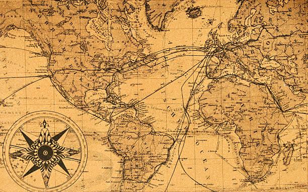 Vecchia mappa del mondo - foto stock