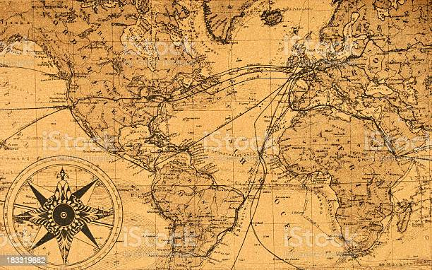 Map of the world,compass,antique,navigation,route - free photo from