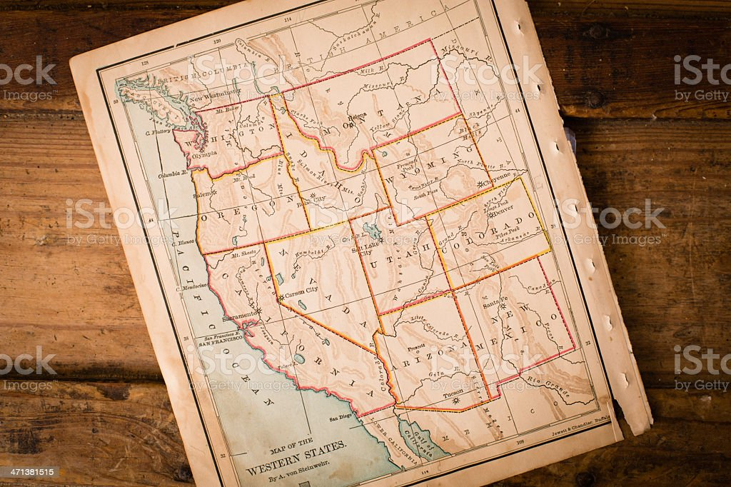 Old Map of Western United States, Sitting Angled on Trunk stock photo