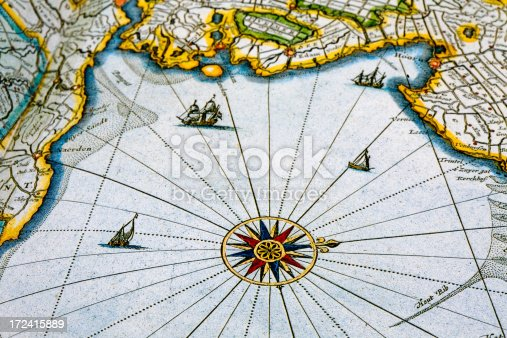 istock old map with compass 172415889