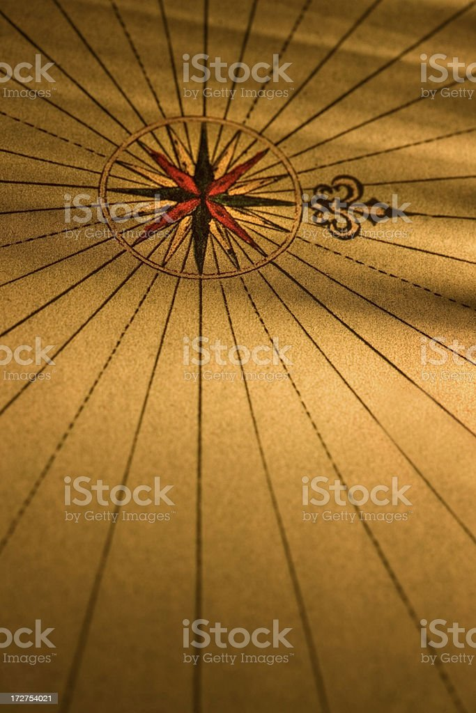 old map with compass royalty-free stock photo
