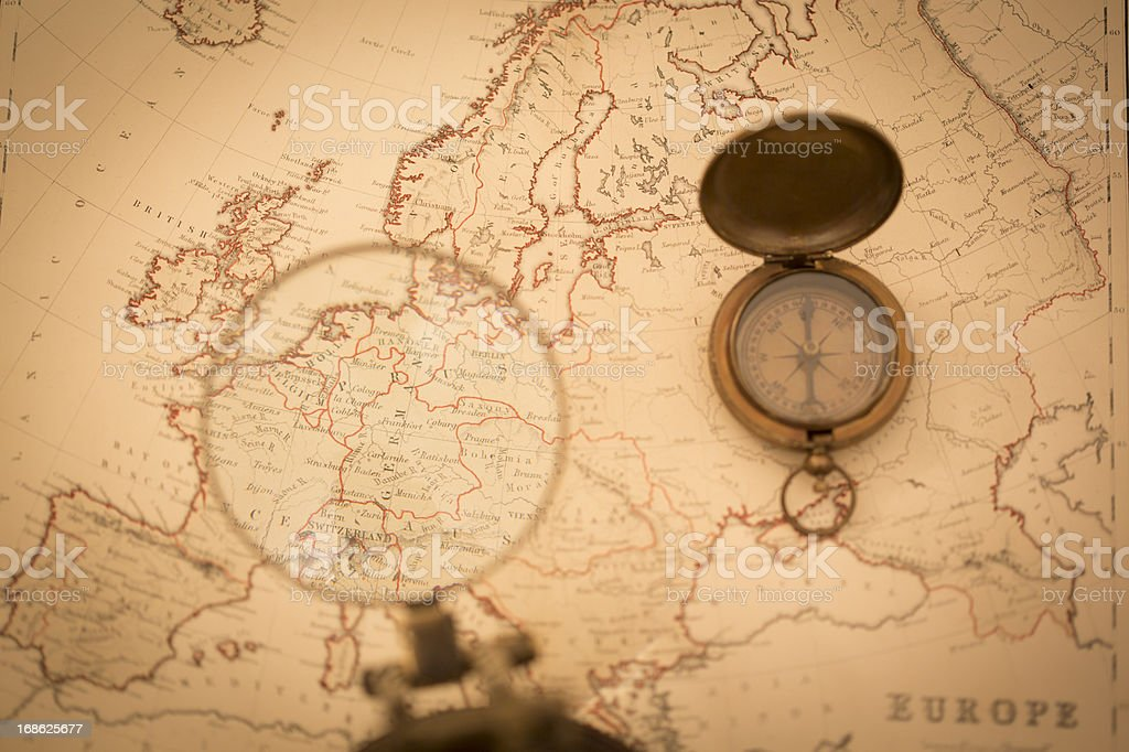 Old Map with Focus on Germany royalty-free stock photo
