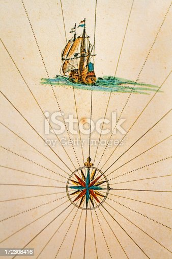 istock old map with ship and compass 172308416